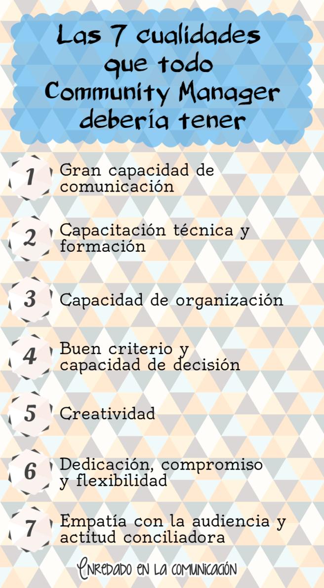 Las 7 cualidades que todo Community Manager debería tener infografía social media